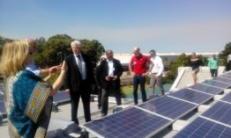 Premier Zille and Minister Winde having a look at ACA's rooftop PV system.