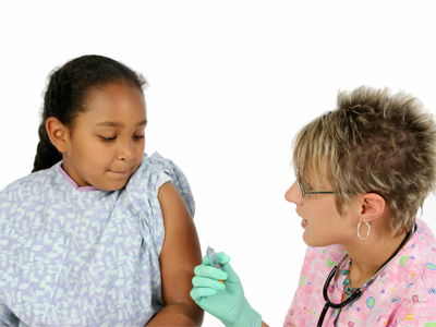 Girl getting injection