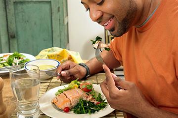 man enjoying a healthy meal