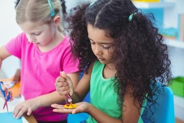 Children doing arts and craft activities