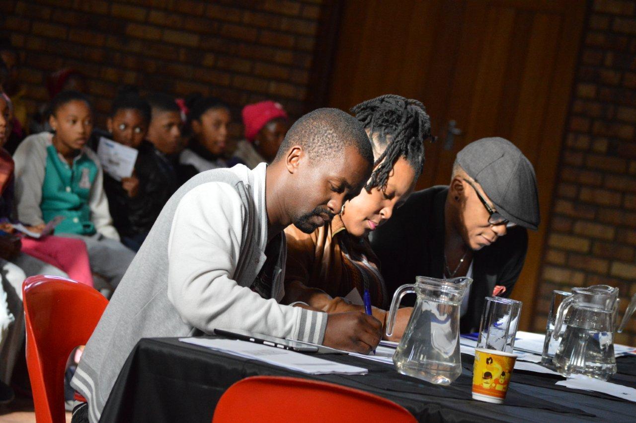 Baxter Theatre Adjudicators Thami Mbongo, Zoleka Helesi and Bongile Mantsai