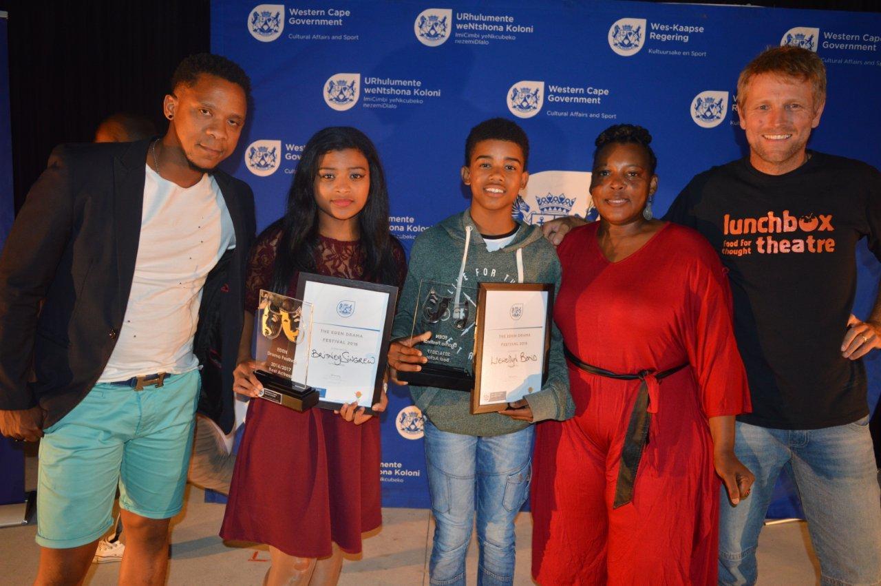 Best actor and actress with adjudicators Bongile Mantsai Zoleka Helesi and Stuart Palmer