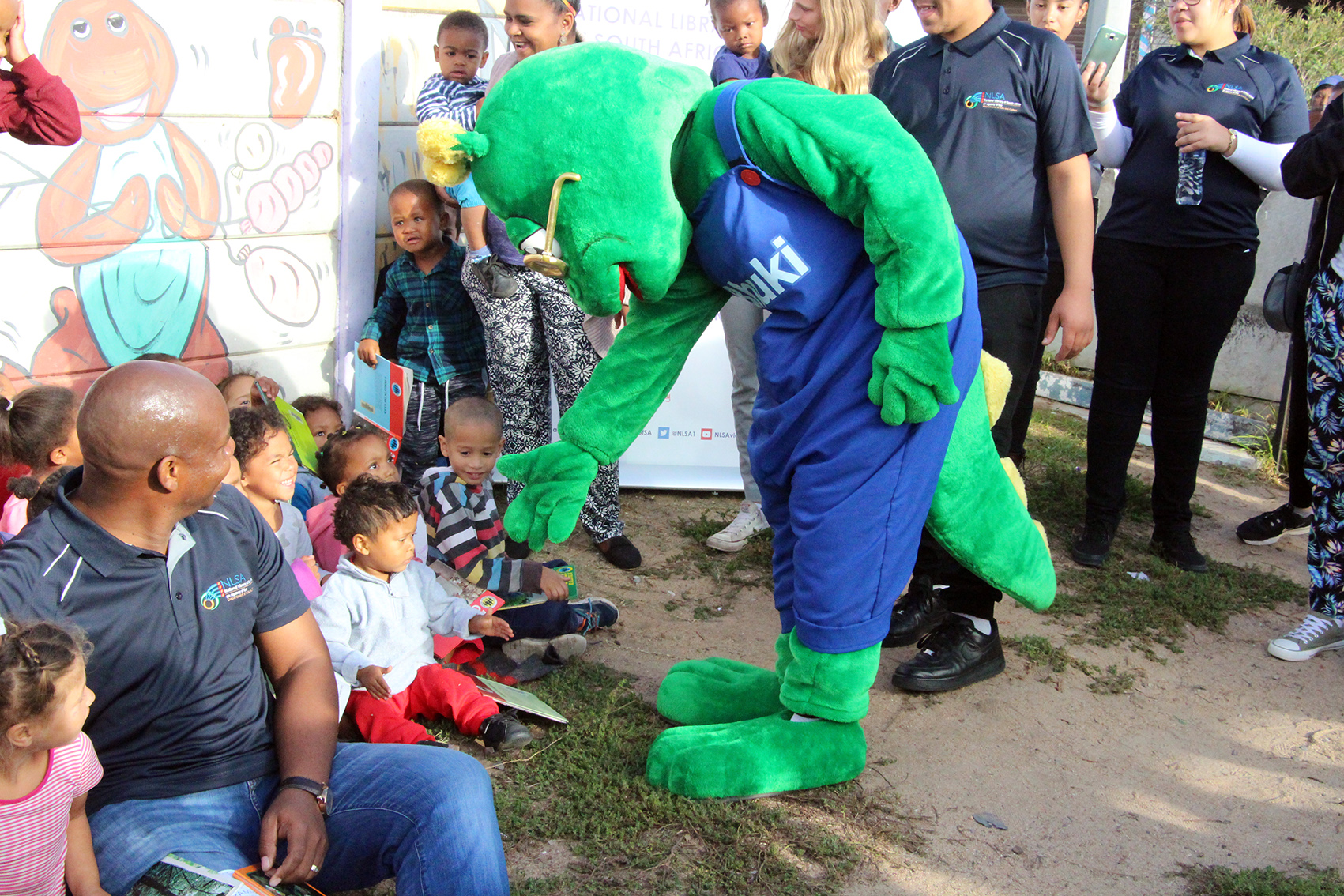 Bhuki saying hello to some of the children at the Pearls Little Ones Creche
