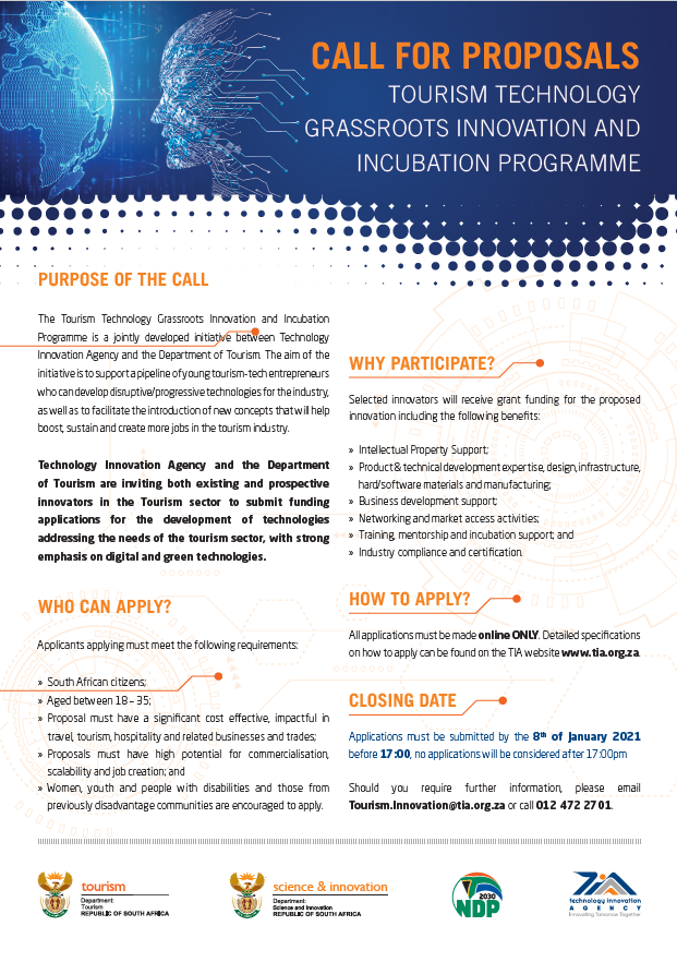 Call for proposals: Tourism Technology Grassroots Innovation and Incubation programme