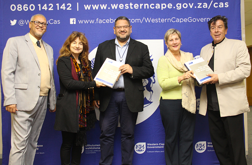 DCAS Chief Director Dr Lyndon Bouah, Prof Marion Keim, HOD Brent Walters, Minister Anroux Marais and Prof Christo De Coning at the presentation at the DCAS Head Office in Cape Town