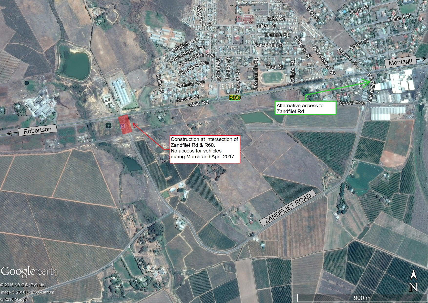 Closure of intersection of R60 and Zandfliet Road during March and April 2017