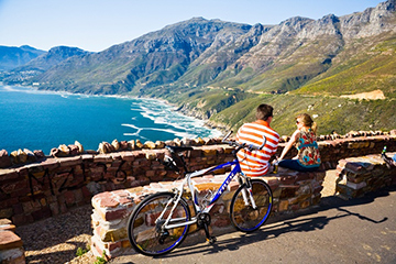 couple admiring Cape Town mountain views