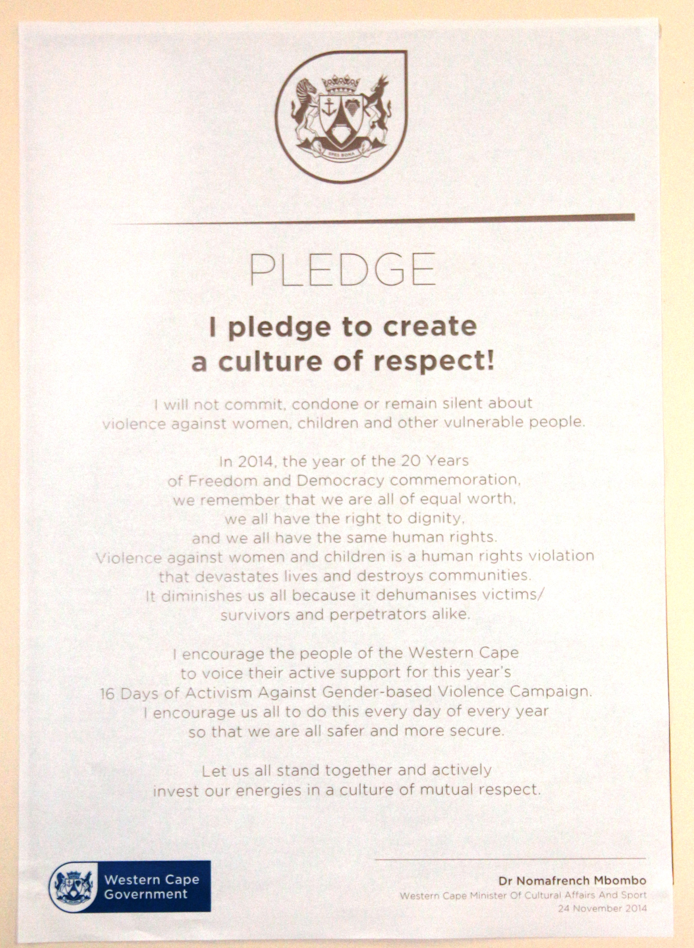 The pledge to create a culture of respect.