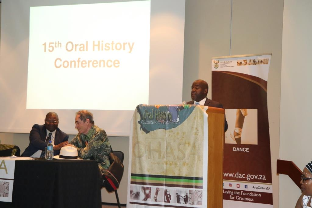 DCAS Dr Mxolisi Dlamuka Shares the supporting message by Minister Anroux Marais at the Oral History conference