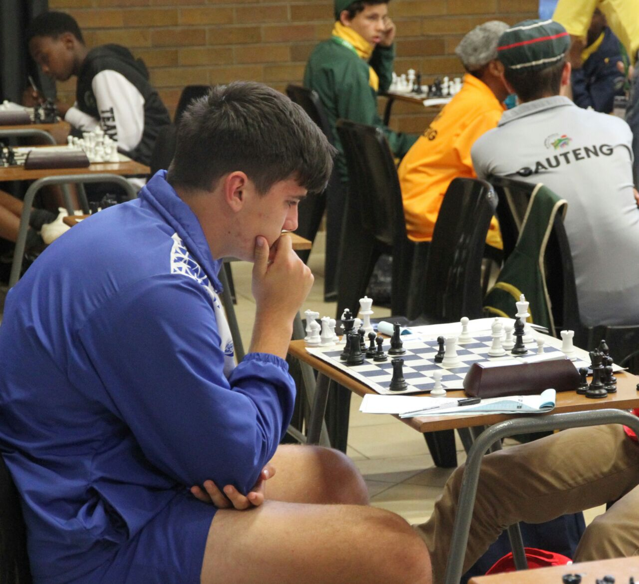 Deep concentration during a chess game