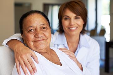 Elderly woman in frail care