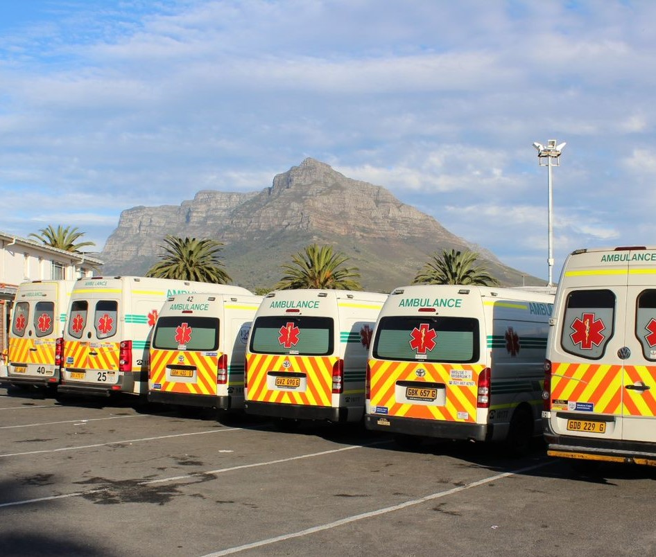 EMS ambulances with Table mountain in the background