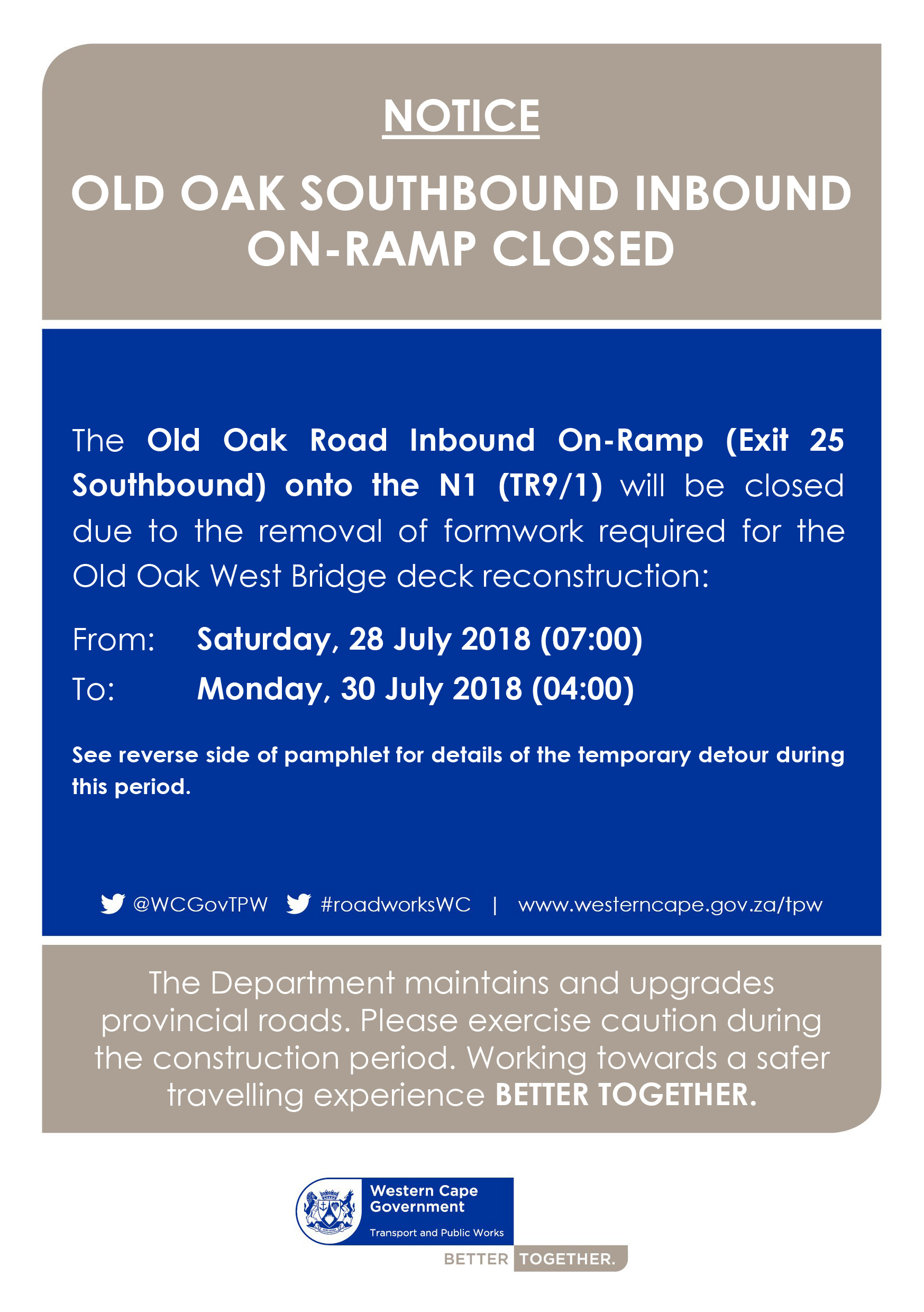 N1 closure in July
