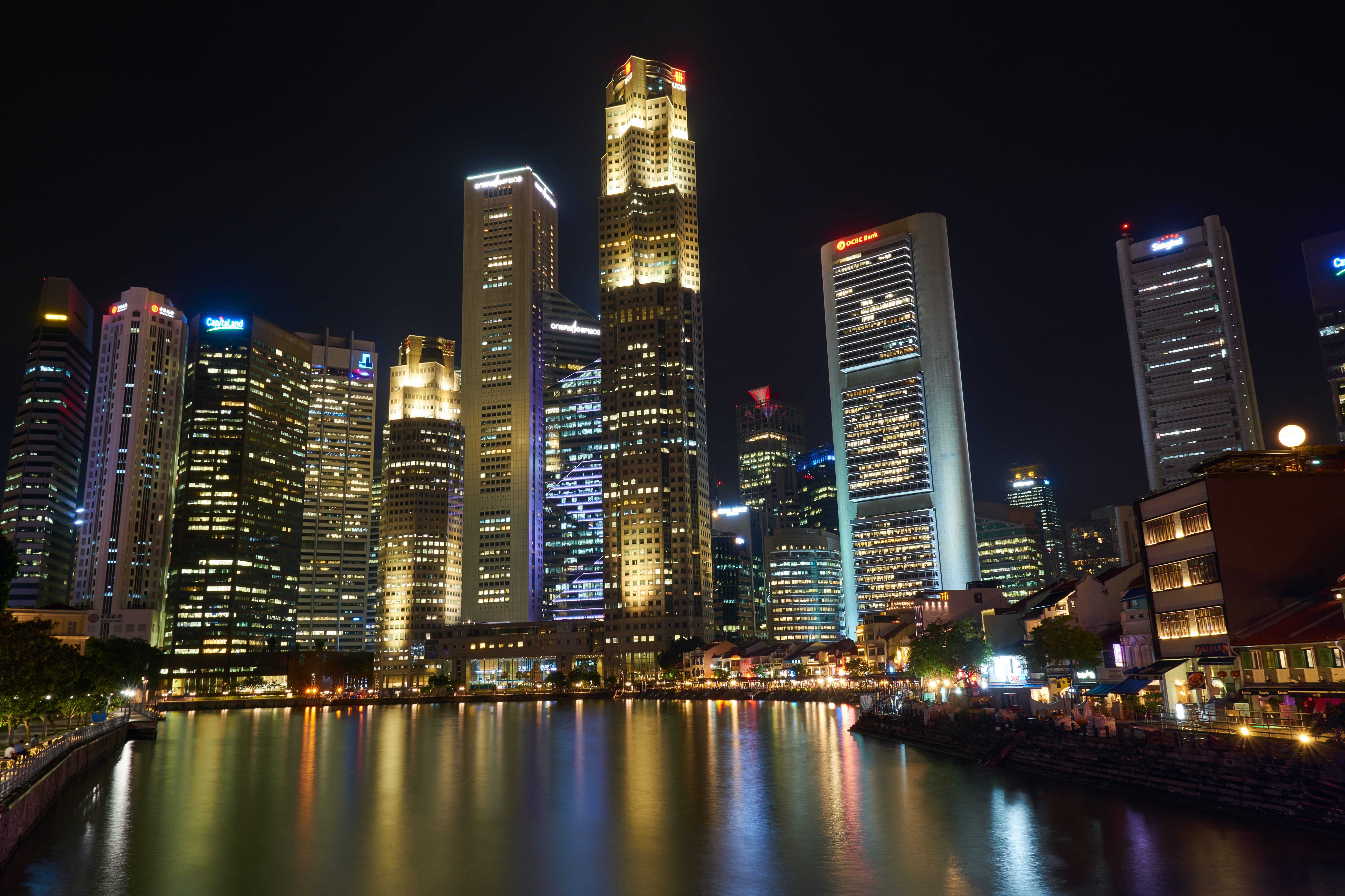 City with tall buildings at night