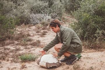 Game ranger with tortoise