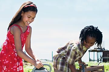 girls busy farming
