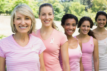 group of women in support of breast cancer
