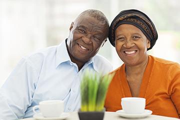 happy couple having tea