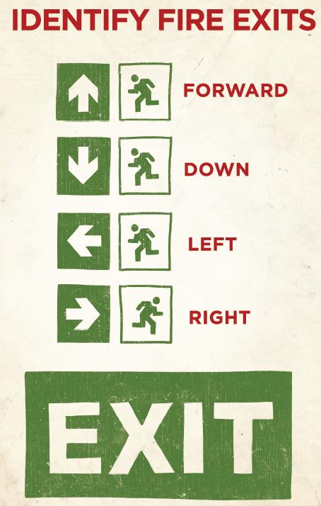 Identify fire exits