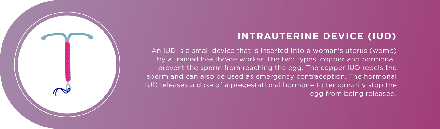 INTRAUTERINE DEVICE (IUD) An IUD is a small device that is inserted into a woman's uterus (womb) by a trained healthcare worker. The two types: copper and hormonal, prevent the sperm from reaching the egg. The copper IUD repels the sperm and can also be u