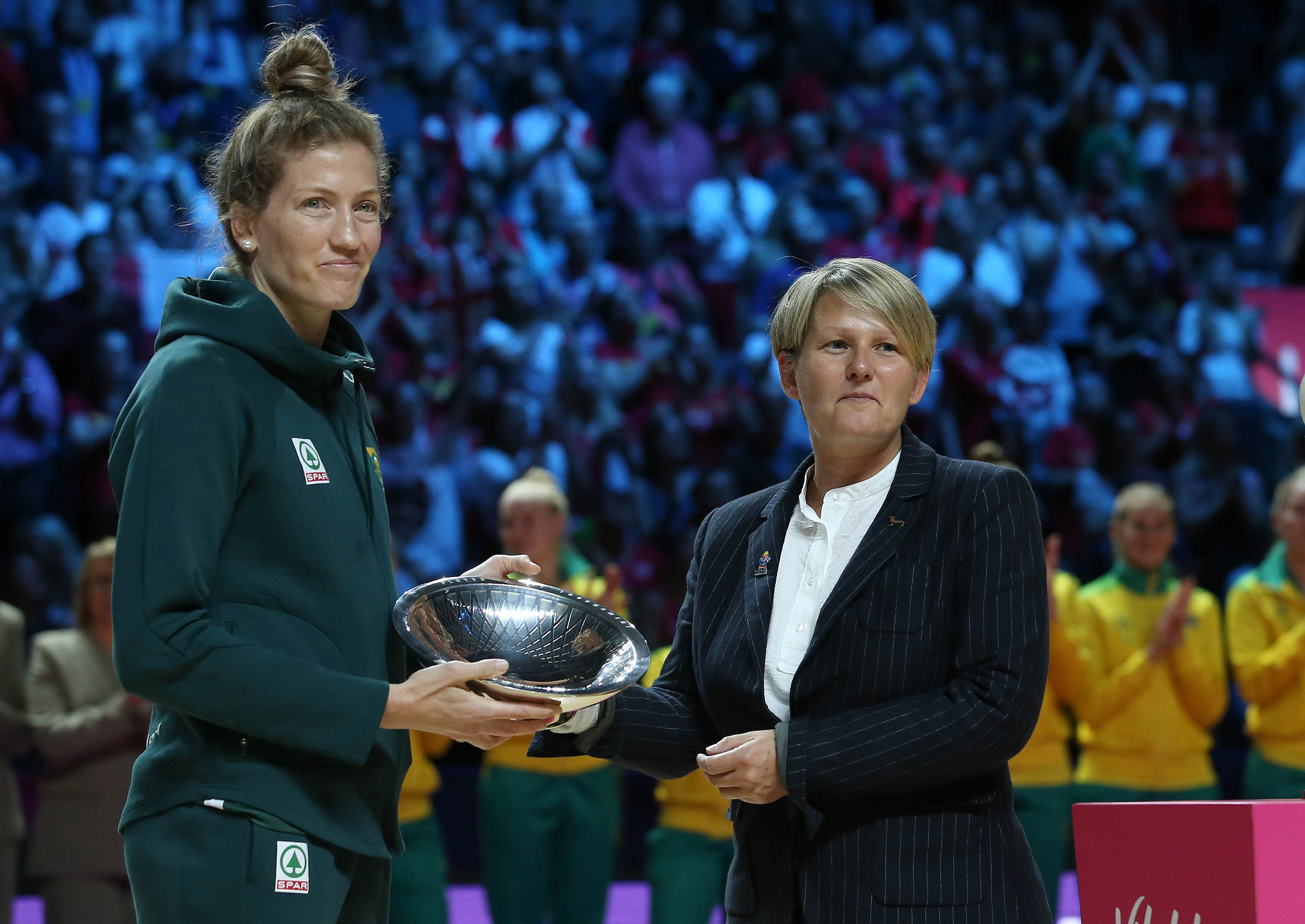 Karla Pretorius receives Player of the 2019 Vitality Netball World Cup in Liverpool
