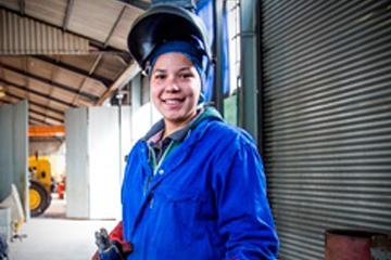 Kay van Oordt, female bursary beneficiary in welding.