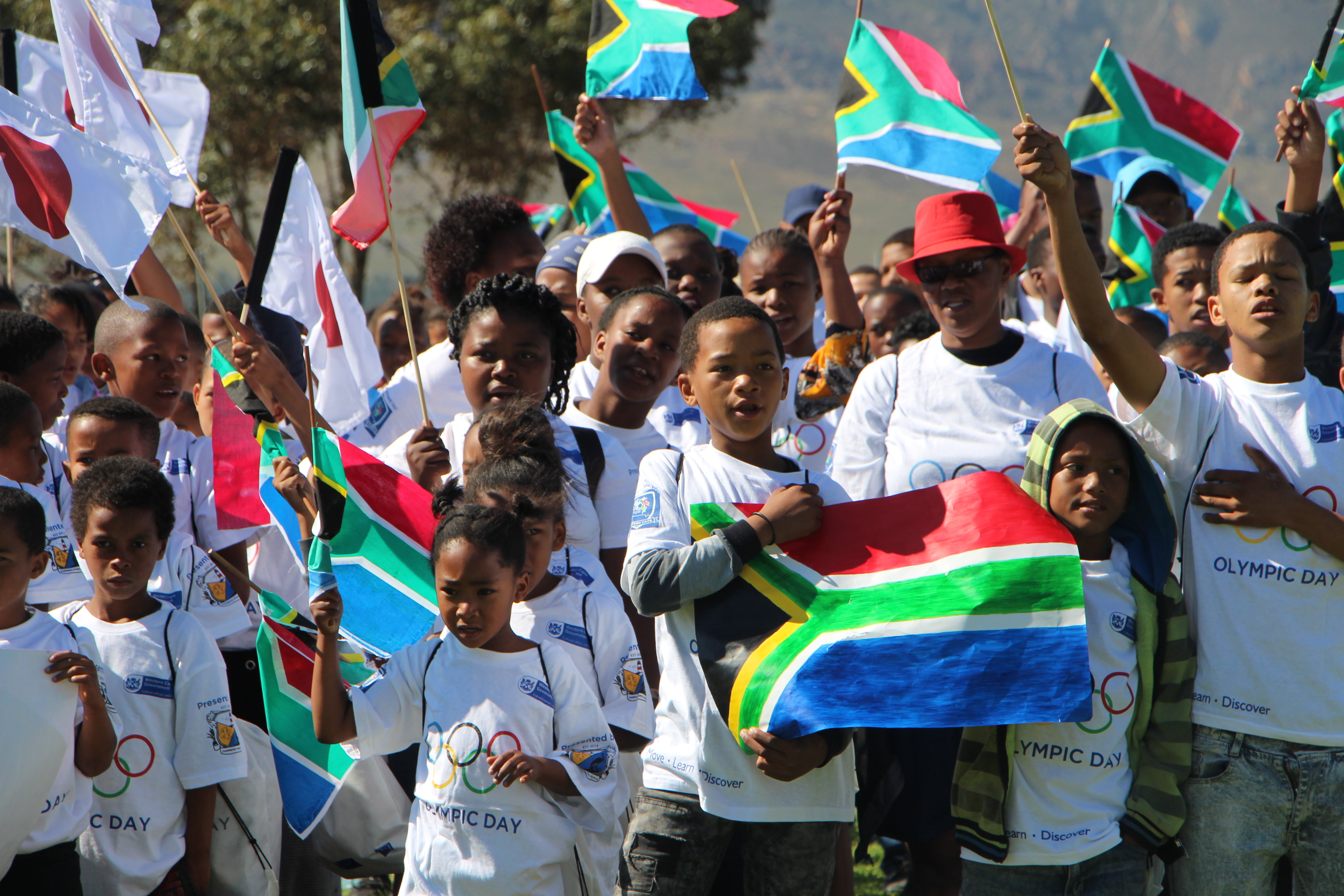 Kids representing South Africa at the 2019 Olympic Day