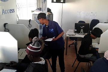 Visitors to the Kranshoek e-Centre gain computer skills needed.