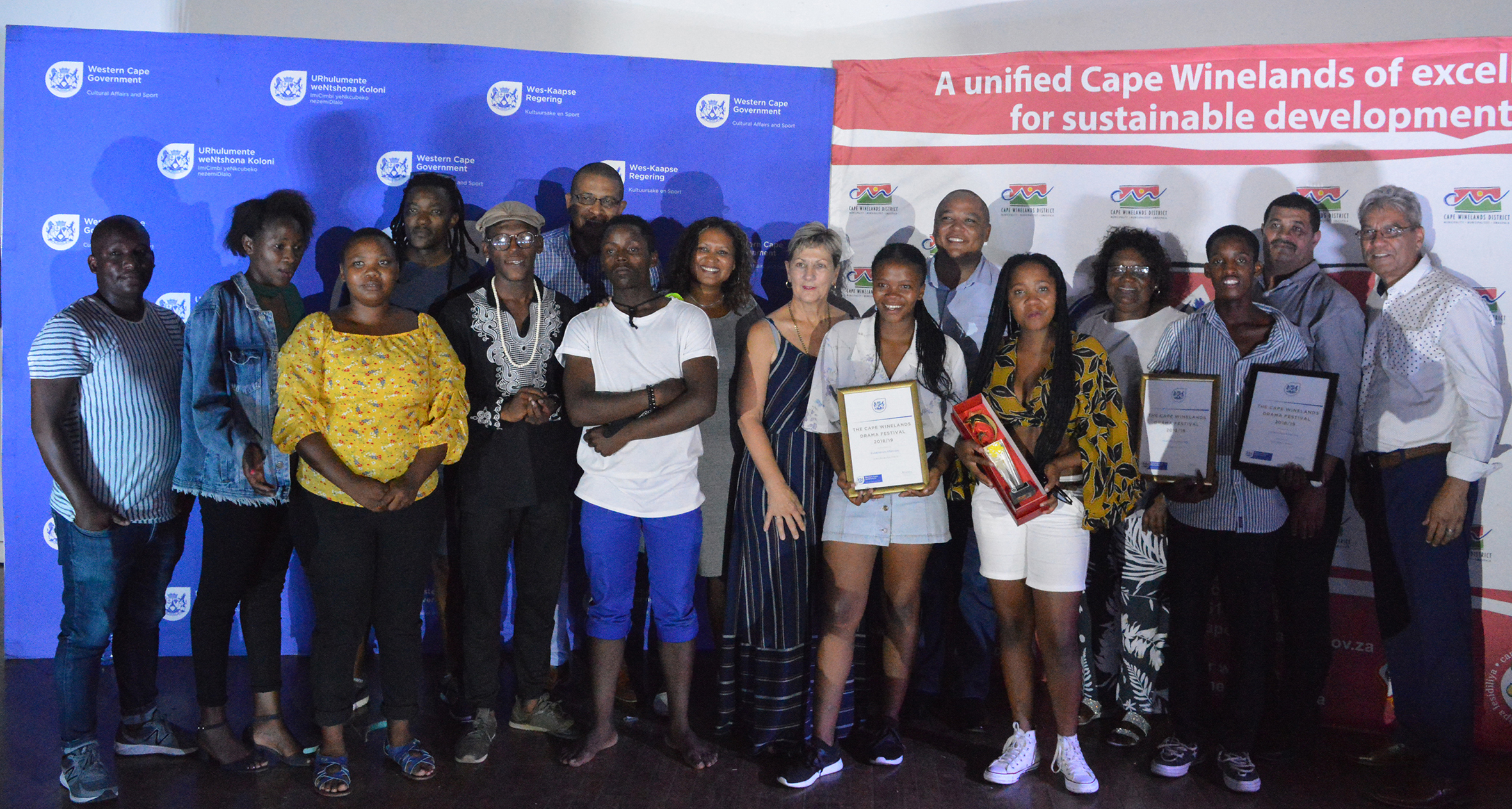 Kwakhanye Aftercare celebrates after being named as overall Cape Winelands Drama Festival winners by minister Anroux Marais.
