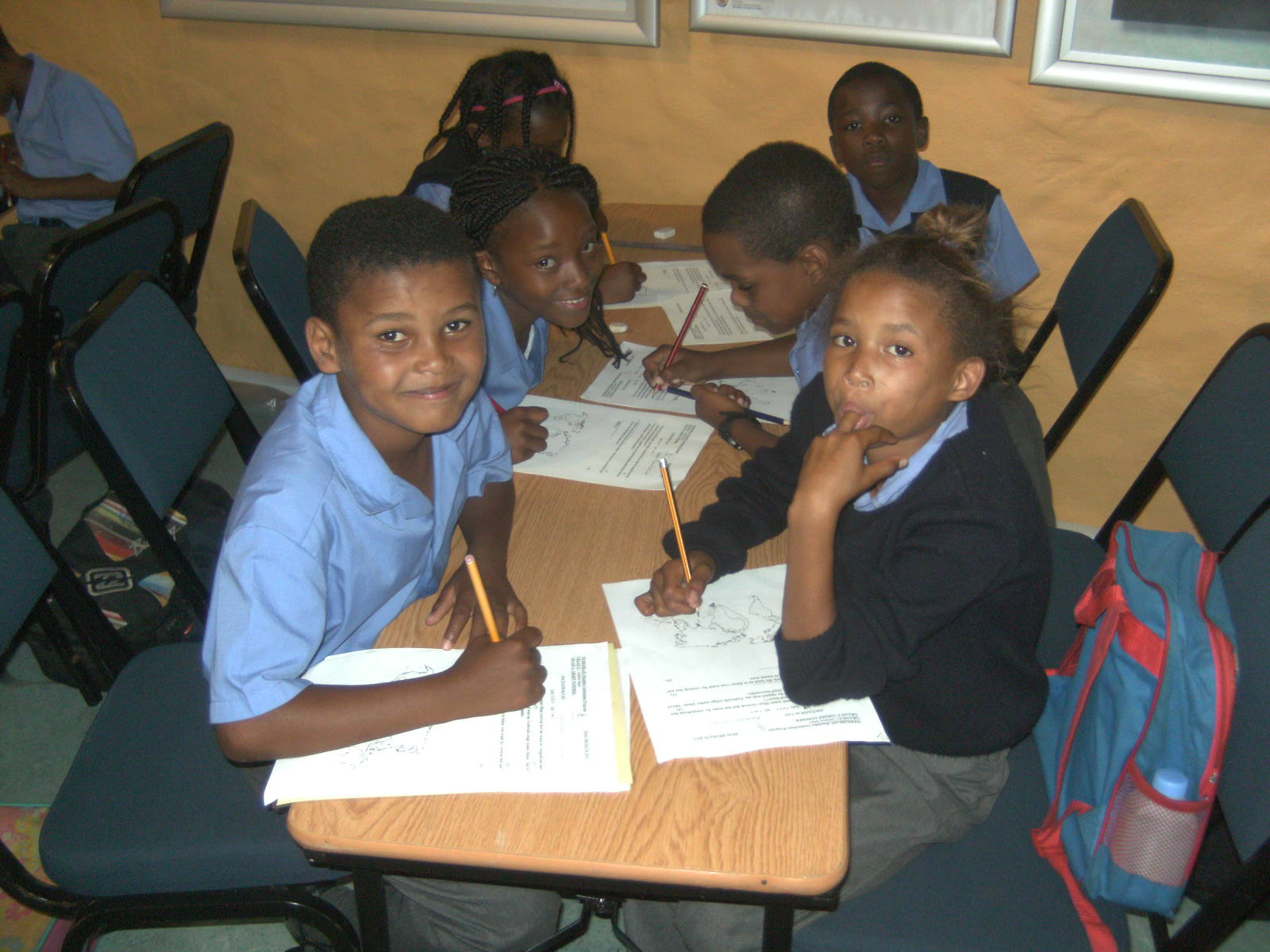 Learners completing their worksheets for the National Symbos DCAS Museum Educational Programme