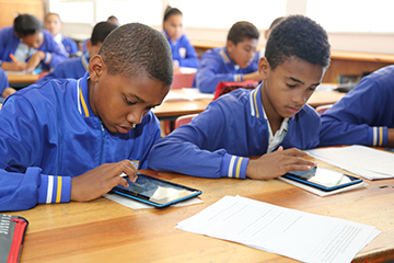 Learners with tablets