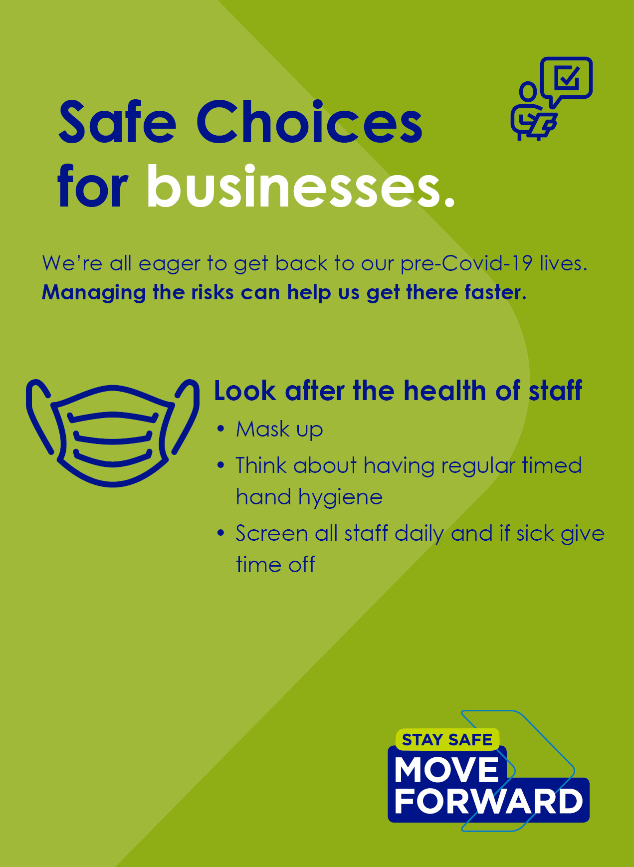 Look after the health of staff