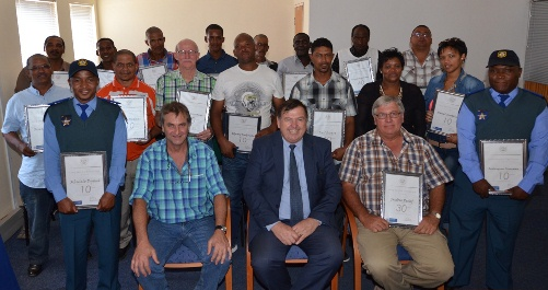 Minister Donald Grant and the Cape Wineland's Long Service Awards recipients.