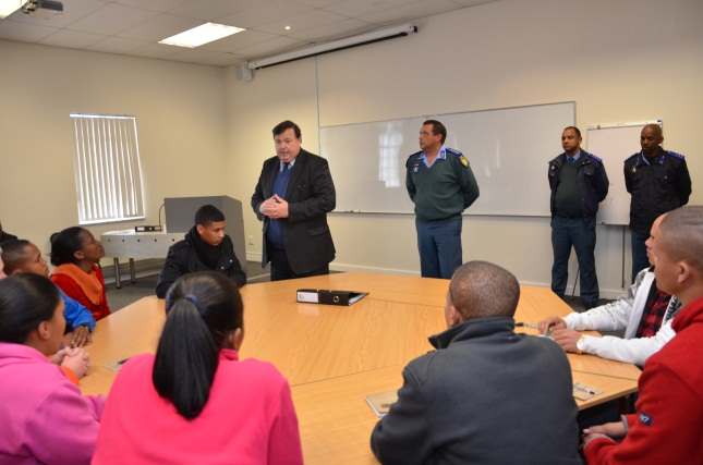 Minister Grant speaks to learners