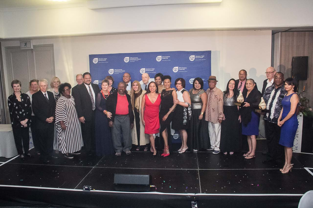 Minister Anroux Marais and HOD Brent Walters with some of the 2016/17 Cultural Affairs Awards winners