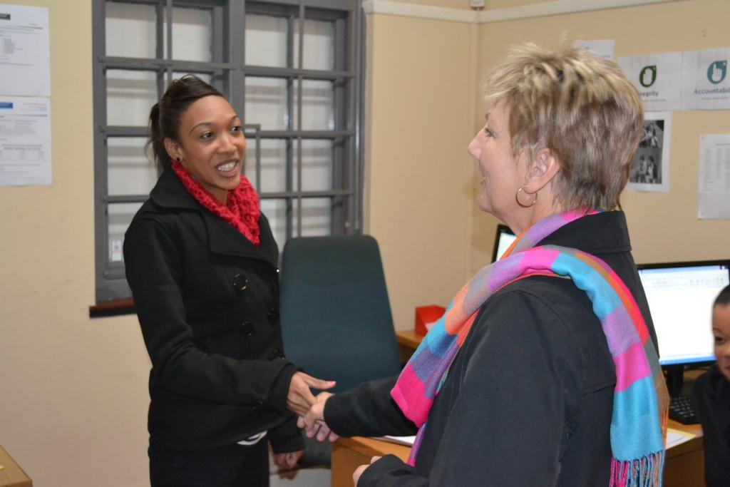 Minister Marais meets Celeste Stoffels at the Boland regional Sport office