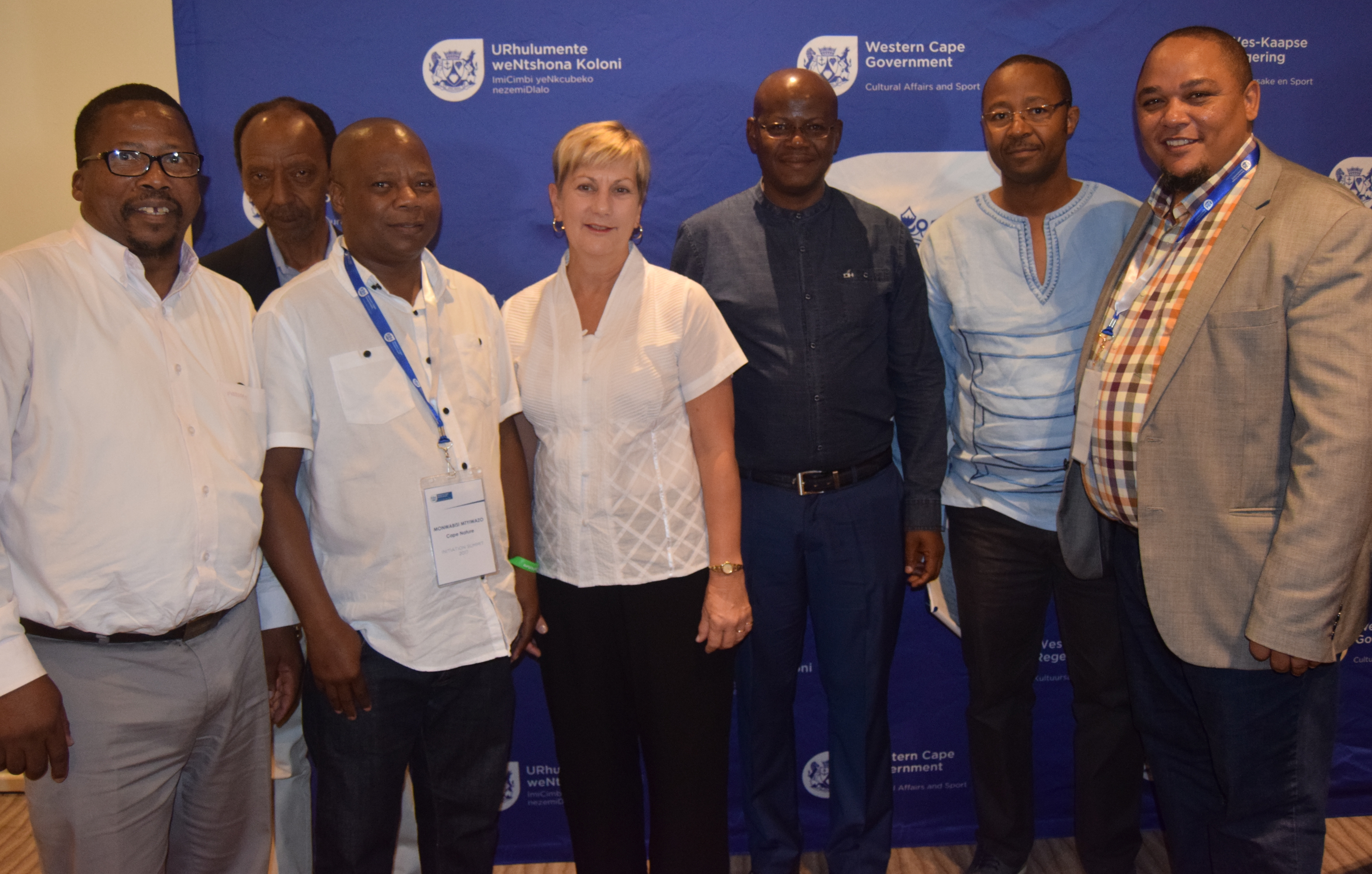 Minister Anroux Marais with Clement Williams, Msokoli Qotole, Monwabisi Mtyiwazo, Sam Khandlela, Prof Ralarala and Guy Redman at the Initiation Summit in Cape Town