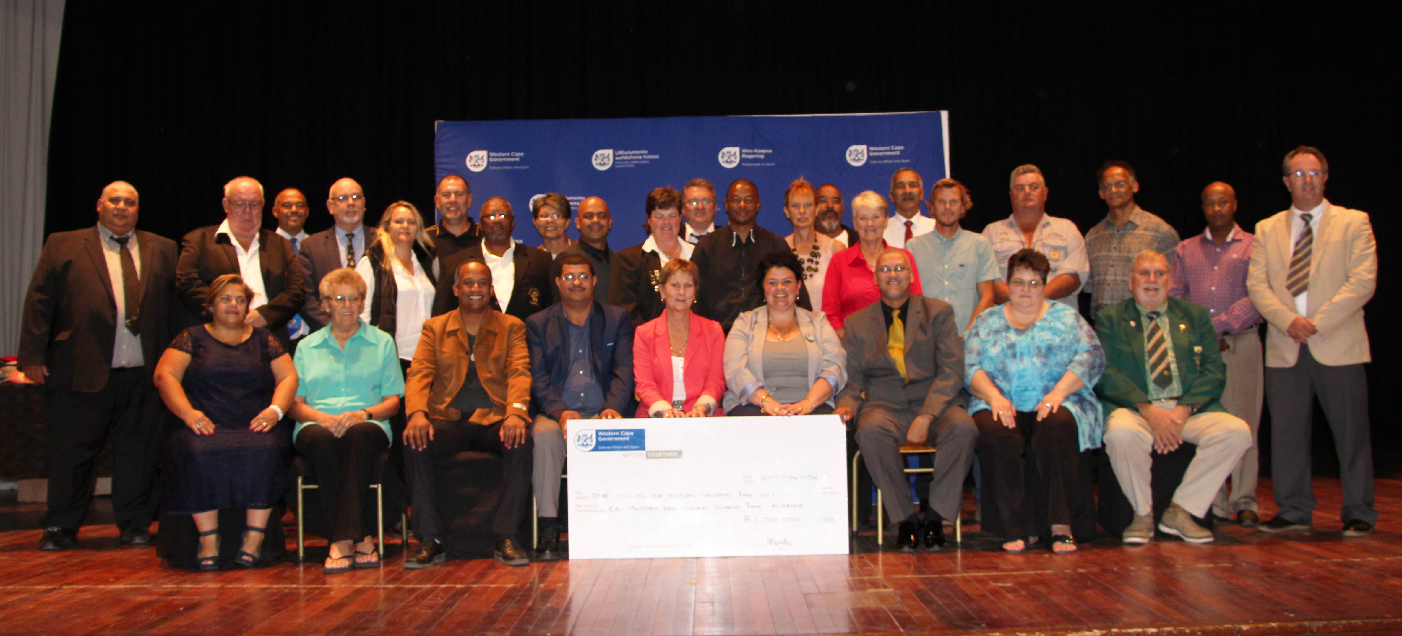 Minister Marais with DCAS staff and representatives from all the federations which received funding