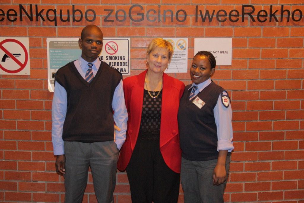 Minister Marais with  Phumlani Dangazele and Thulisile Khonzani in the foyer of Roeland Street