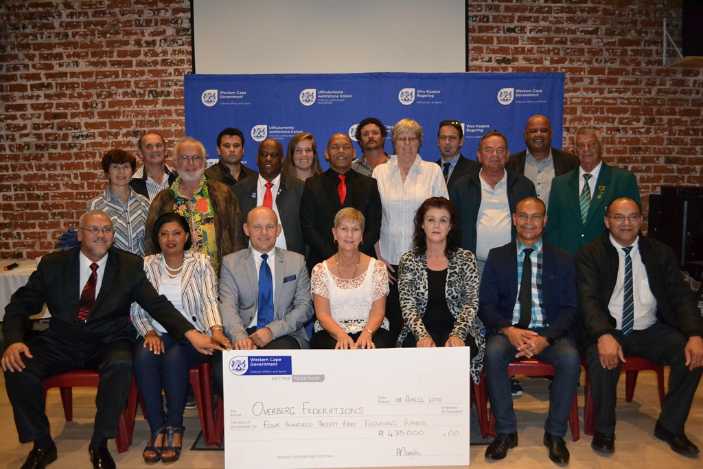 Minister Anroux Marais with representatives from the recipient Federations and DCAS officials