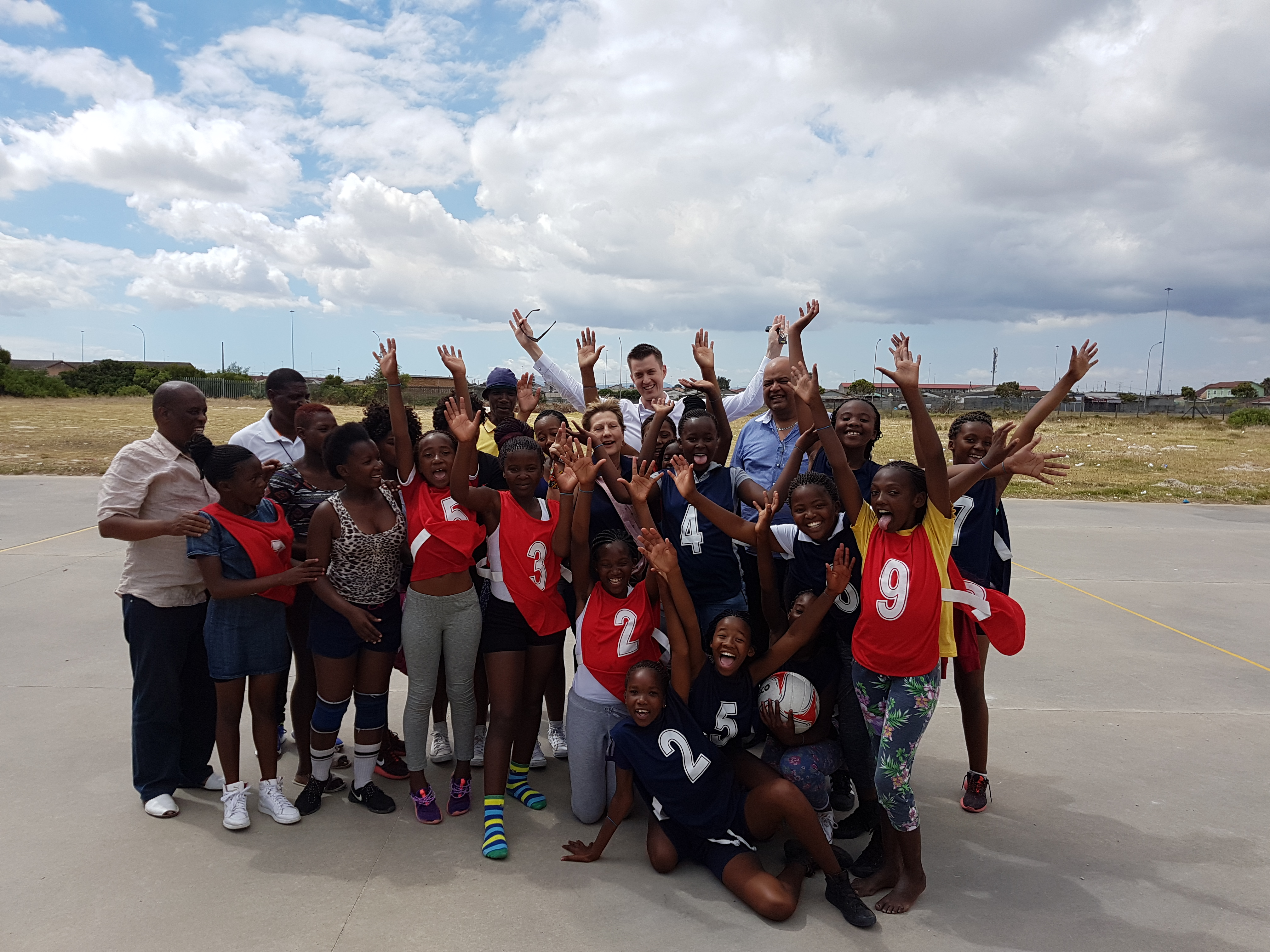 Minister Marais with some of the children who participated in the sporting activities