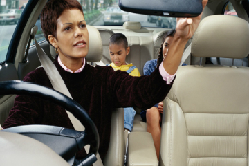 Mom with kids in car