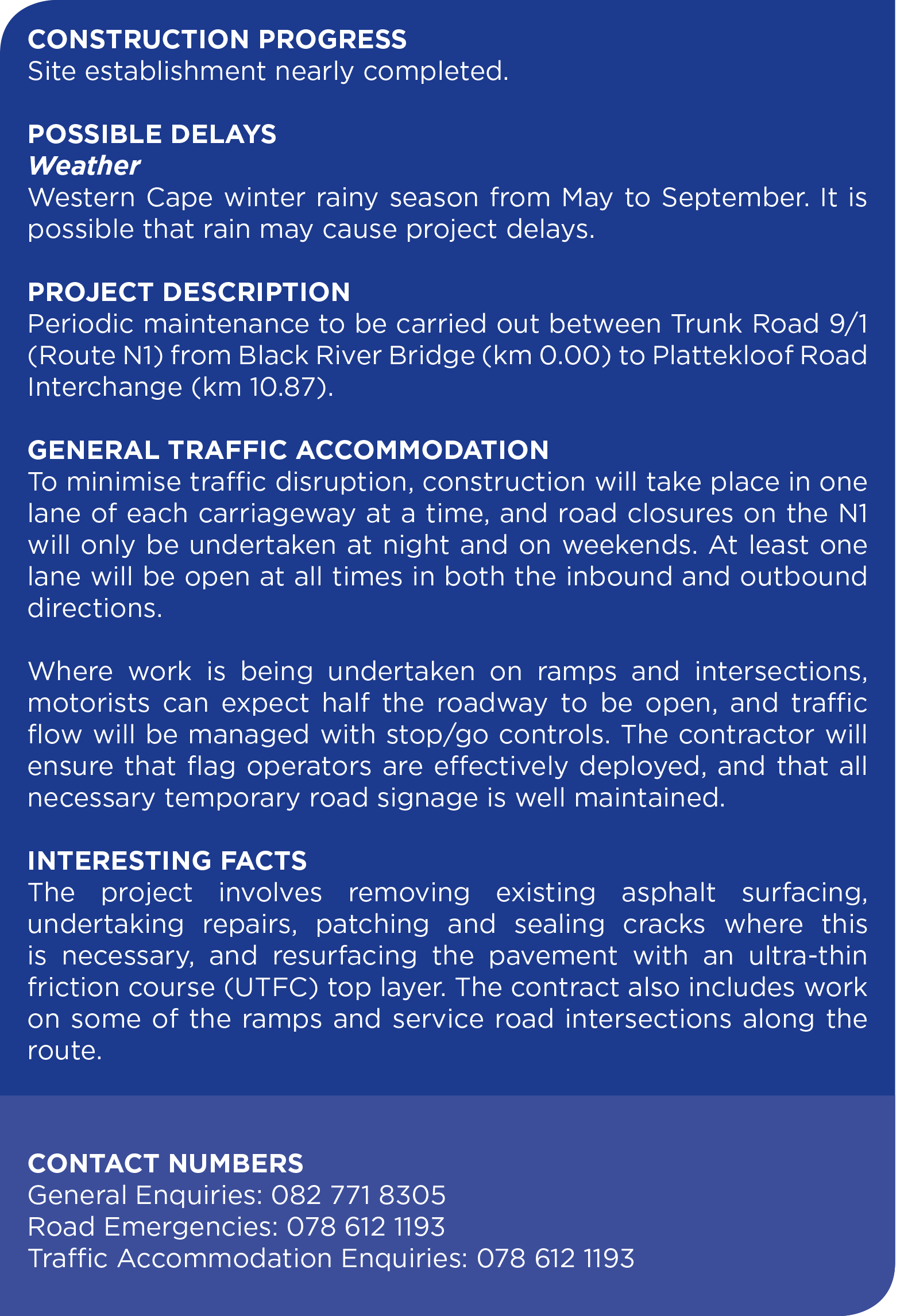 N1 roadworks