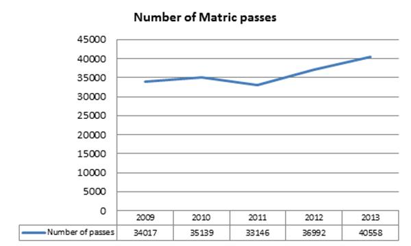 NCS 2013 Number of Matric Passes