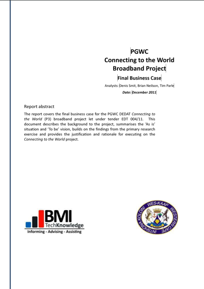 Picture of Connected to the World (Business Case 2011) Document
