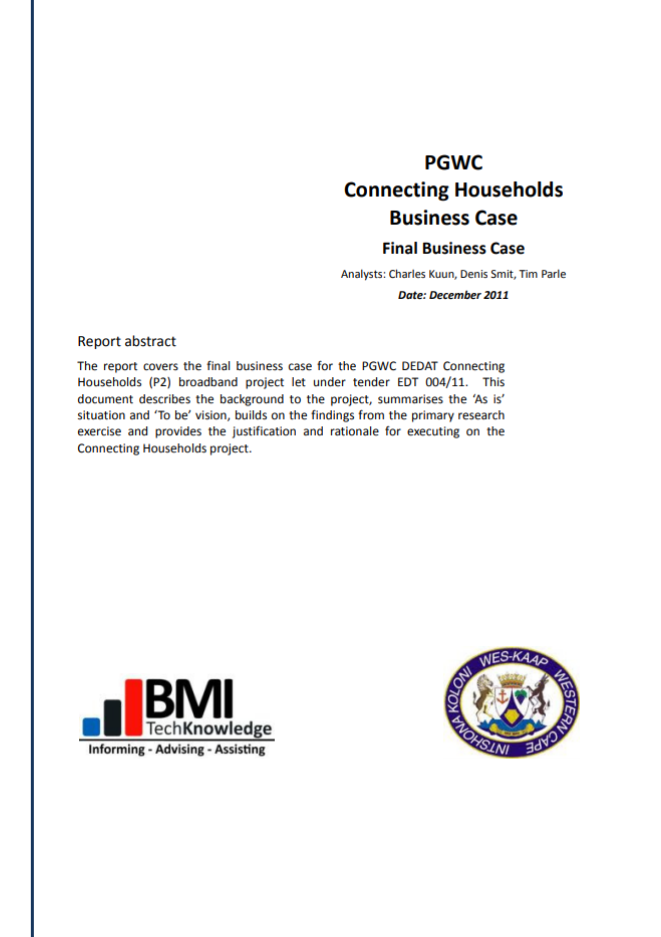 Picture of the Connected Households (Business Case 2011) Document