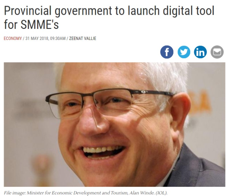 "Screenshot of the 'Provincial government to launch digital tool for SMME's"" news article"