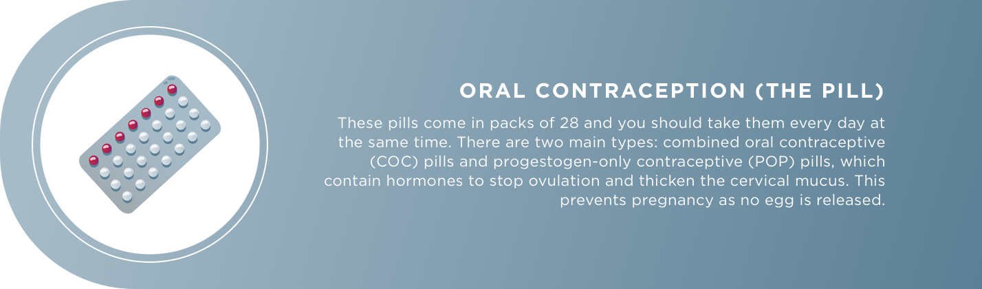 ORAL CONTRACEPTION (THE PILL) These pills come in packs of 28 and you should take them every day at the same time. There are two main types: combined oral contraceptive (COC) pills and progestogen-only contraceptive (POP) pills, which contain hormones to