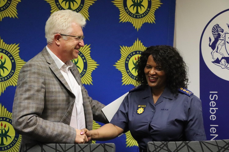 Premier Winde congratulates Lieutenant General Matakata on her appointment.
