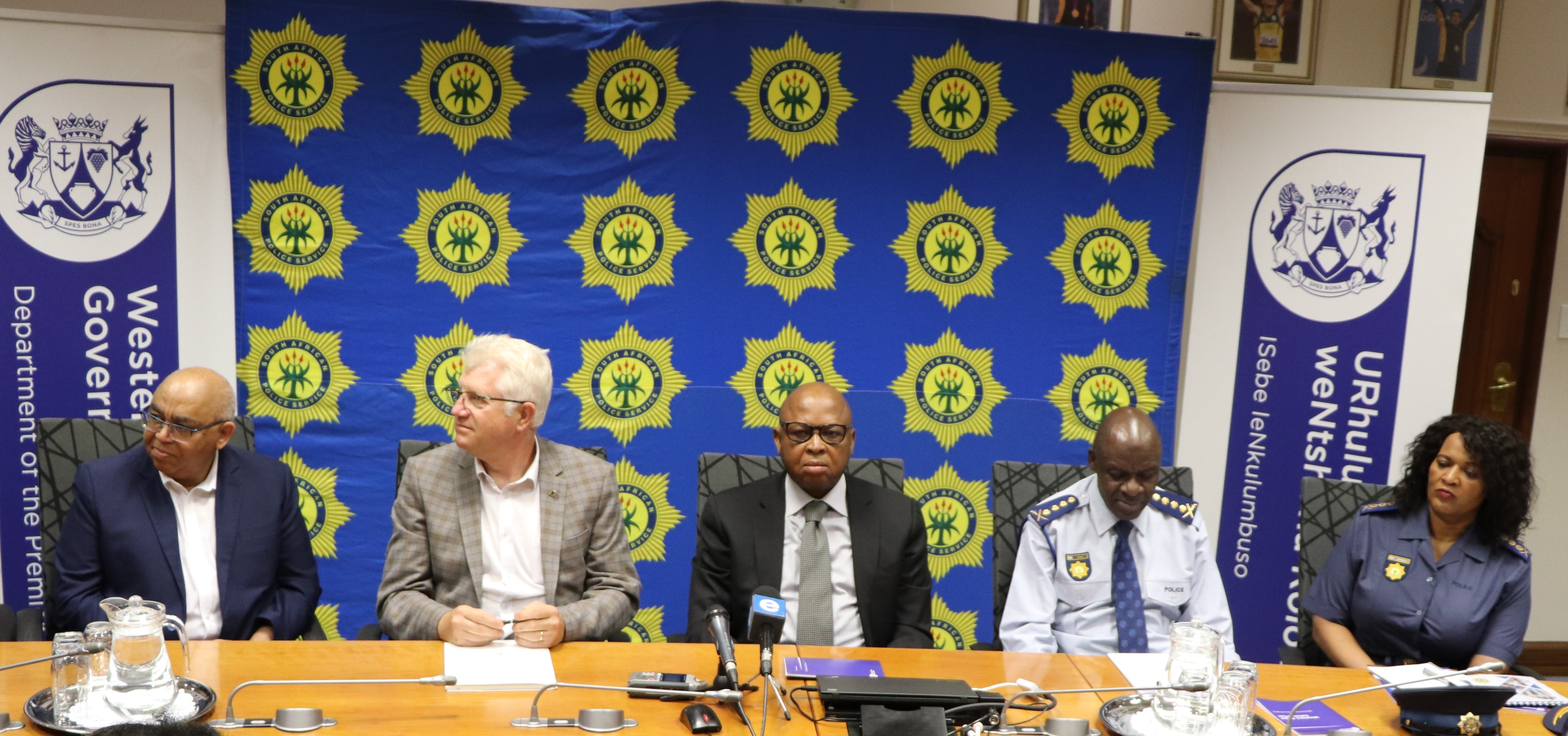 (From left) Western Cape Minister of Community Safety, Premier Alan Winde, Deputy National Police Minister Cassel Mathale, National Police Commissioner Khehla  Sithole and the Western Cape Police Commissioner Yolisa Matakata